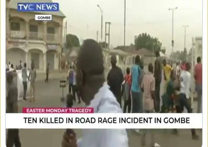 TVC NEWS correspondent runs away after he heard gun shots while reporting a livenews