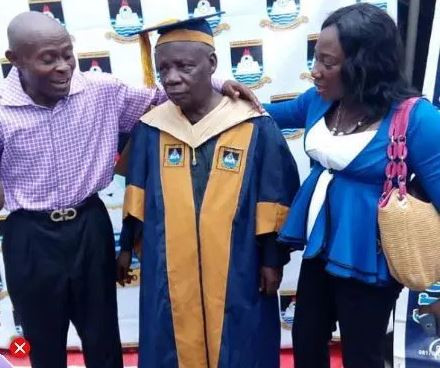 80-year-old man graduates with  MSc degree in International Relations from Lagos State University(photos)