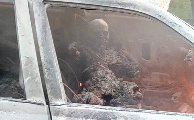 Nigerian Army Major Burnt To Death Inside His Car At Ojo Barracks(photos)