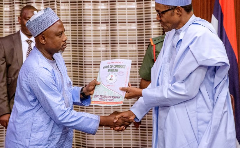Buhari receives asset declaration form  from CCB Chairman, Prof. Muhammad Isa