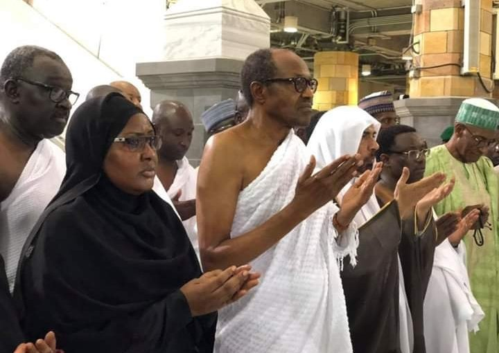 President Buhari performs the Umrah (lesser Hajj) at the Masjid Haram (the Grand Mosque) in Makkah, Saudi Arabia