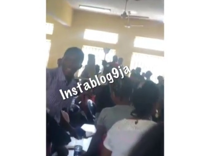 Ceiling fan leaves the ceiling and falls on UNILAG students during lectures yesterday (photos)
