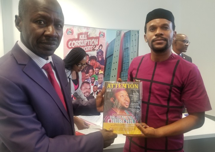 EFCC Chairman Ibrahim Magu Endorses ATTENTION MAGAZINE With Olakunle Churchill On CoverPage