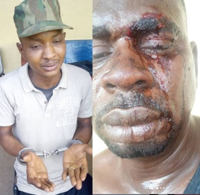 The fake soldier the beat up Baba Fryo has been arrested by the realsoldiers