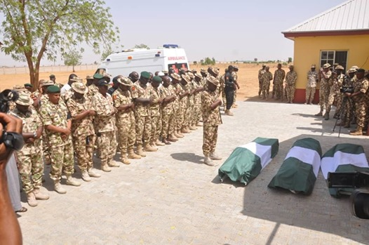 Nigerian Army gives the last respect to two officers killed by boko haram in Borno
