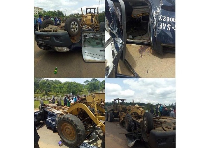 JUST IN!!! Tractor Crushes Police Van In Ekiti, Many Policemen Injured