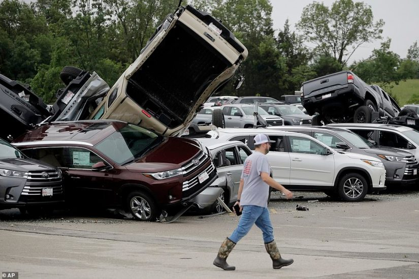 Tornadoes Destroys Many Toyota Cars In Toyota Company In U.S(photos)