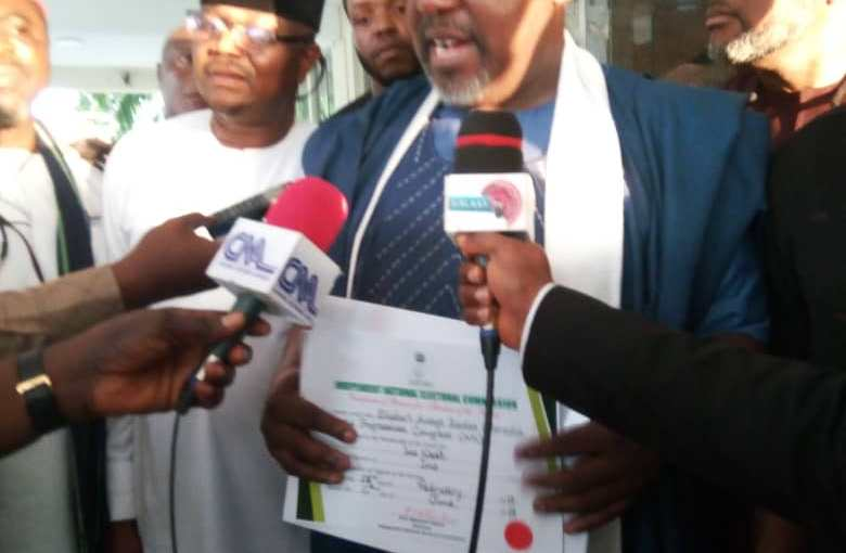 INEC finally issues former Imo state governor, Rochas Okorocha, his certificate of return