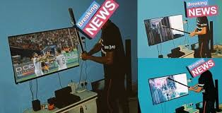 AFCON: Nigerian man destroys his TV after he lost N700k to bet, As Nigeria lost to Algeria (photos)