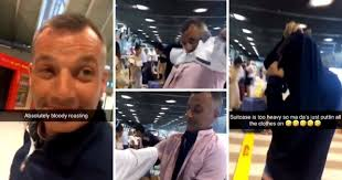 Man wears 15 tops to avoid paying over weight baggage charge on Flight (video)
