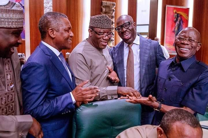 Dangote and Fayemi Reconciles Obaseki and Oshiomhole (photos)