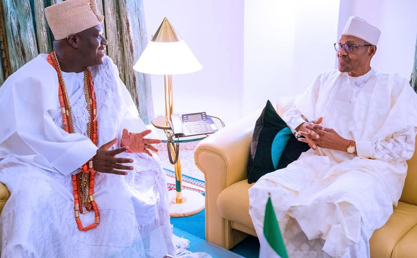'Southwest doesn't want war' – Ooni of Ife tells President Buhari (Photos)