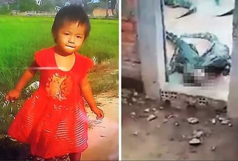 Photos of a two-year-old girl eaten by crocodiles at her her family's crocodilefarm