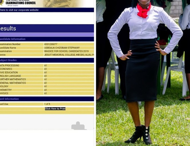 16 years old Imo state Teenager Ugboaja Chizobam Stephany, Emerges with the best 2019 WAEC Result