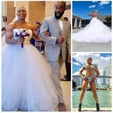 Macho Female bodybuilder weds(photos)