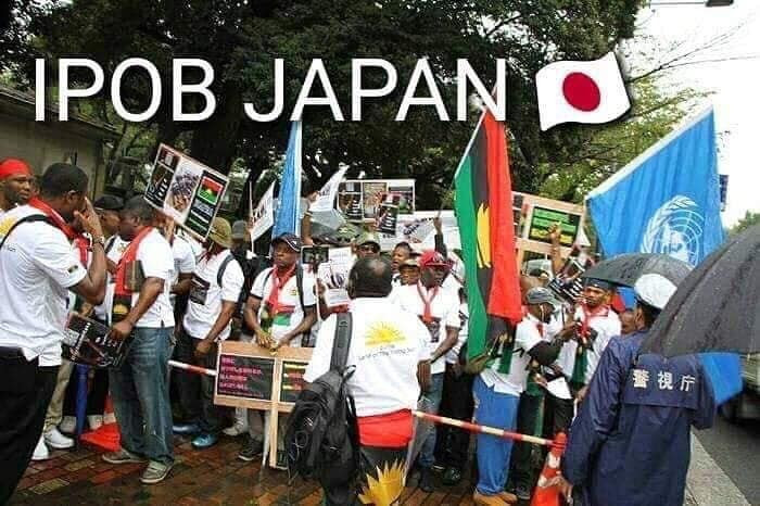 Photos of desperate IPOB members, patiently waiting for President Buhari in Japan