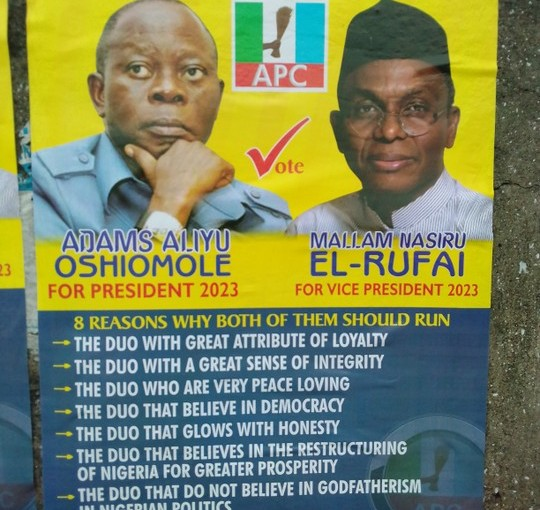"""Oshiomhole For President and El-Rufai For VP"" 2023 Campaign Poster Spotted In Lagos"