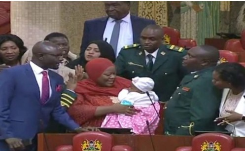 Kenyan lawmaker, Kicked Out Of The National Assembly For Coming With Baby[Photo]