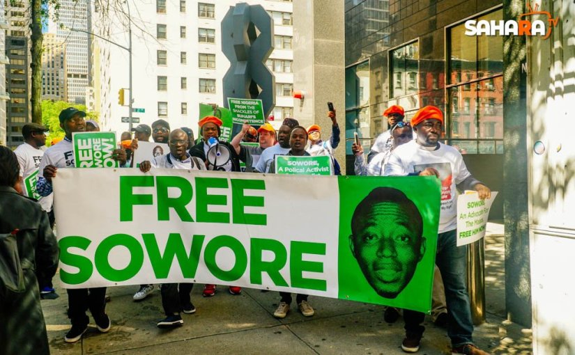 #FreeSowore protesters storms UN offices demanding the unconditional release of Sowore