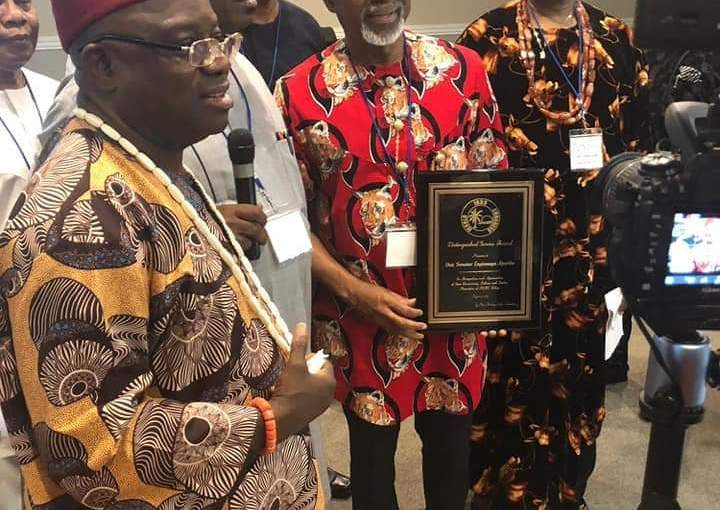 Senator Enyinnaya Abaribe receives the award of Nma Agha Ndigbo (sword) in Houston, US, despite Nnamdi Kanu's Threat