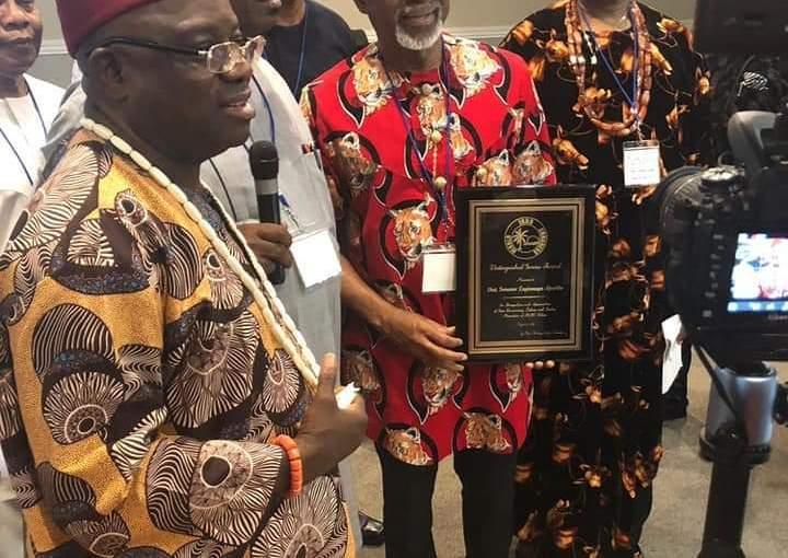 Senator Enyinnaya Abaribe receives the award of Nma Agha Ndigbo (sword) in Houston, US, despite Nnamdi Kanu'sThreat