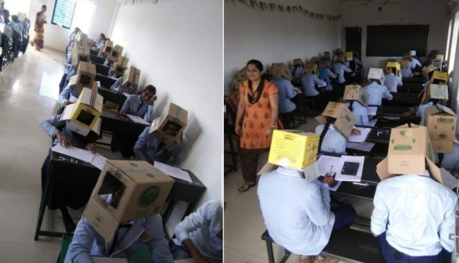 Indian Students Wear Boxes on their head during exams to prevent malpractice