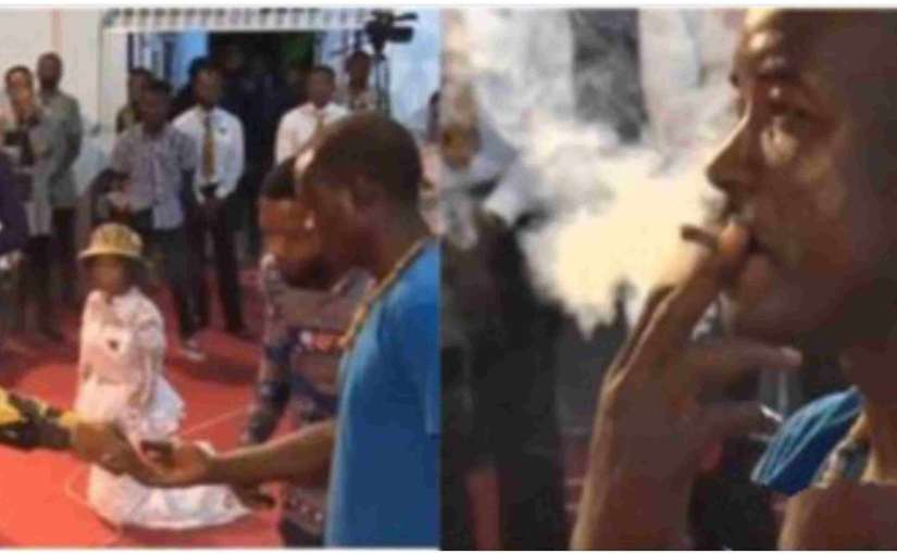 Popular Ghanaian pastor Rev. Obofour gives a man weed to smoke in the church(video)