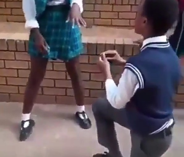 Secondary School Boy Proposes To His Girlfriend (Photos,Video)