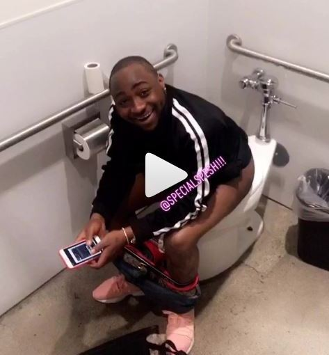 Davido's Hype Man shares his videos and photos in the Toilet