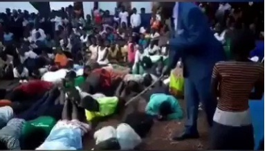 Pastor flogs his members for allegedly failing to attend church service(video)