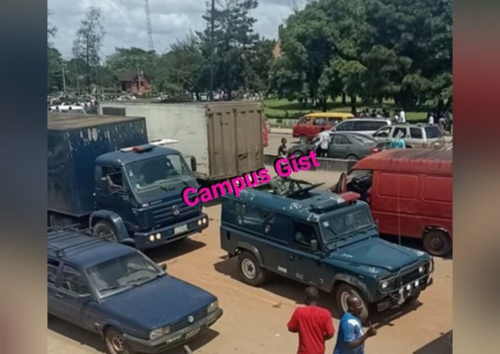 Protesting UNIBEN Students hijacks CBN Bullion Van and Army Vehicle (Video)