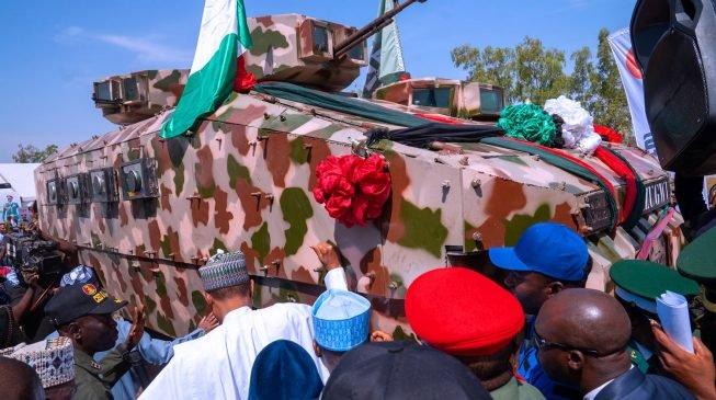 Buhari inaugurates the first-ever made in Nigeria military warvehicle