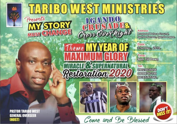 Ex-Nigerian Footballer, Pastor Taribo West Is Holding A Crusade In Lagos This December!!